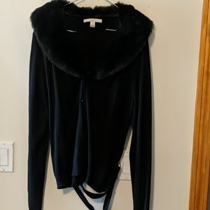 New women's faux fur sweater cardigan